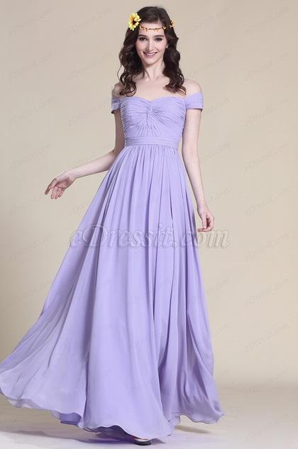 Robe de demoiselle d'honneur longue lilas épaules dénudées (07151706)