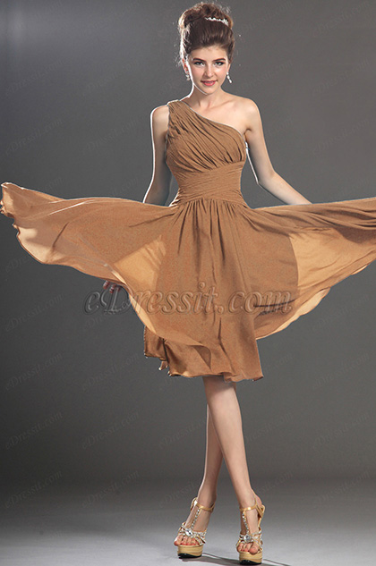 Coffee One Shoulder Cocktail Dress Party Dress (H04130505)