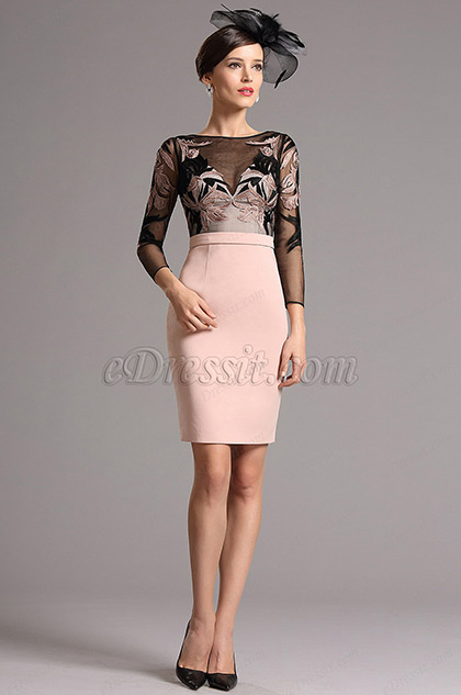Graceful Long Sleeves Embroidered Mother of the Bride Dress (26161101)