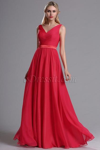eDressit Red Straps Plunging V Neck Ruched Bridesmaid Dress (07160502)