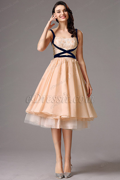 Sweet Peach Layered Tea Length Party Dress Cocktail Dress (04160201)