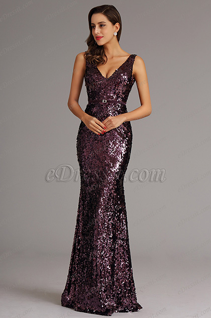Purple V Neck Sequin Formal Dress Evening Dress (X00161706)