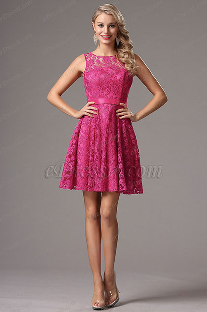Sleeveless Hot Pink Party Dress Bridesmaid Dress (X07152612)