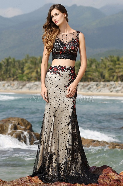 Illusion Sweetheart Neck Two Piece Black Evening Gown Prom Dress (02160400)