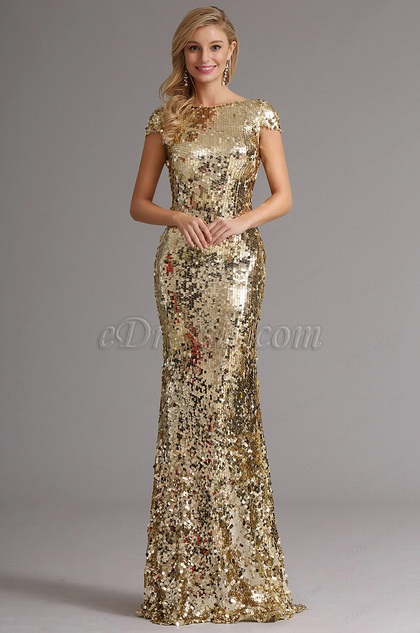 Golden Pailletten Lang Formal Kleid mit Cowl Rücken Design (X07160324)