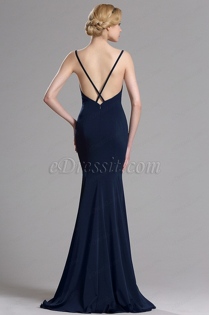 eDressit Navy Blue Strapped Mermaid Evening Prom Dress (00163405)