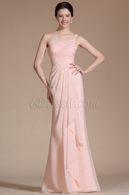 Pink One Shoulder Strap Evening Dress Prom Gown (C00143501)