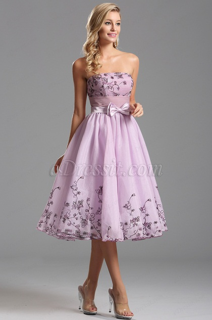 Strapless Floral Embroidery Empire Waist Tea Length Dress (X04135138)