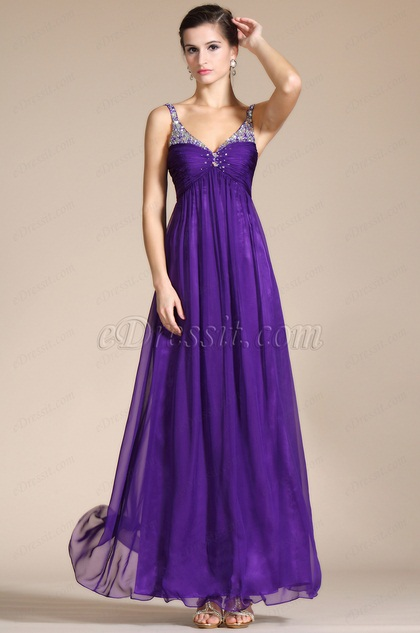 Purple Beaded Straps Empire Bridesmaid Dress (C36140606)