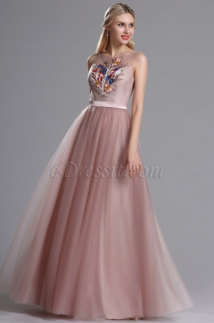 eDressit Blush Sheer Neckline Embroidery Tulle Dress (00164146)