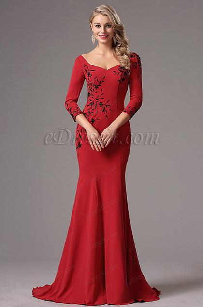 Robe de Soirée Manches Longues Broderie Sirène Rouge (26160902)