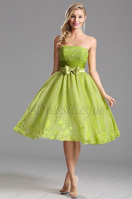 Flattering Strapless Tea Length Party Dress Cocktail Dress (X04135104)
