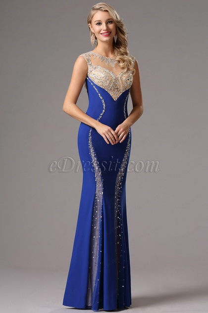 Sleeveless Royal Blue Sparkling Formal Gown Evening Dress