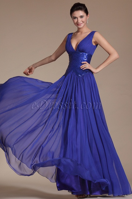 Blue Elegant Sexy V-cut Evening Dress(C00145505)