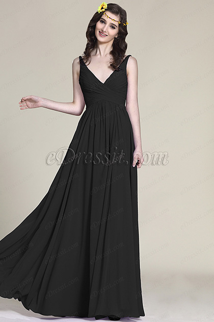 Sleeveless V Neck Black Bridesmaid Dress Evening Dress (07151600)