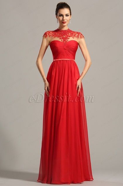 High Neck Lace Applique Red Evening Dress Formal Wear (02154202)