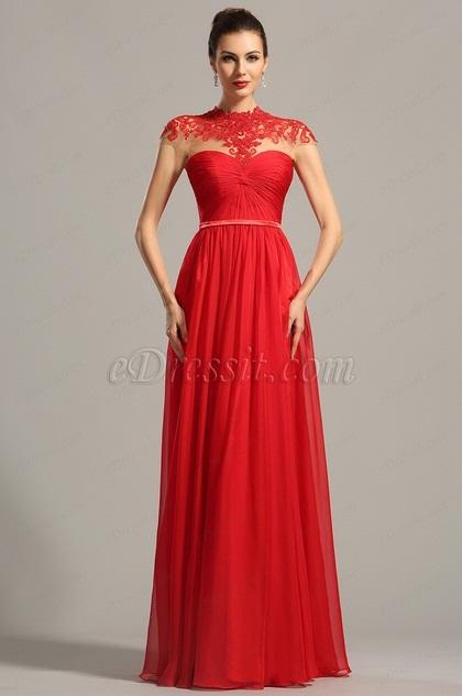 Robe de soirée longue rouge originale à encolure dentelle (02154202)
