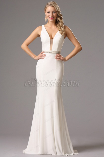 e1f422a977a Sexy Plunging Neckline White Prom Dress Formal Gown (36160607)