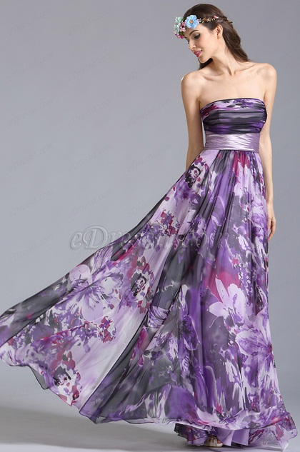 Strapless Floral Dress Summer Printed Dress (07151406)
