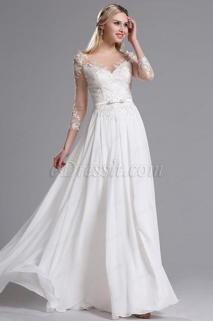 eDressit White Illusion Neckline Floral Evening Dress (01161607)