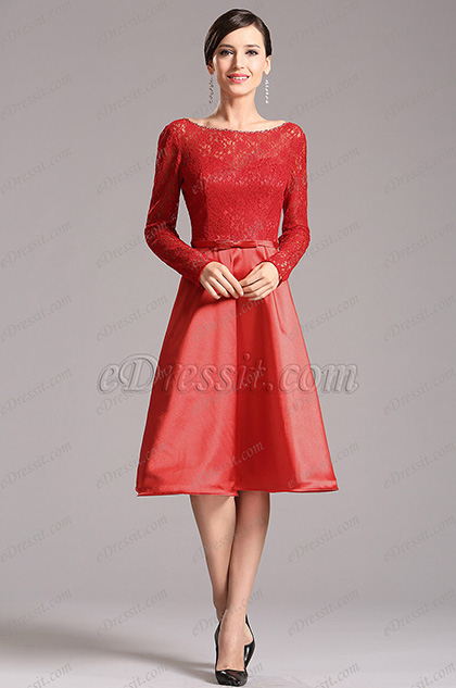 Long Lace Sleeves Red Party Dress Cocktail Dress (X04151802-1)