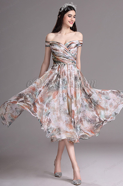 Edressit Floral Printed Off Shoulder Tea Length Summer Day