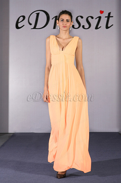 Sexy V Cut Orange Evening Dress Prom Dress (H00090907)