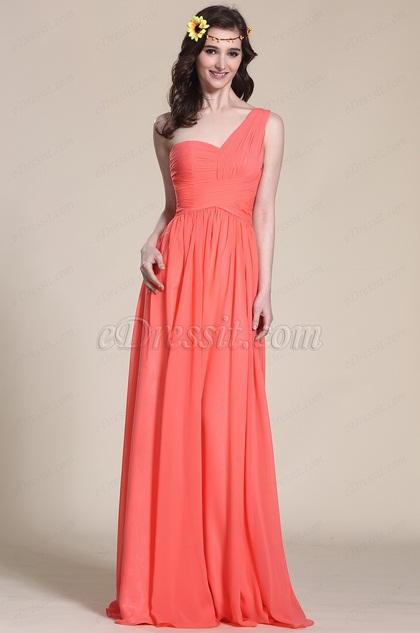 Glamorous One Shoulder Coral Bridesmaid Dress (07151357)