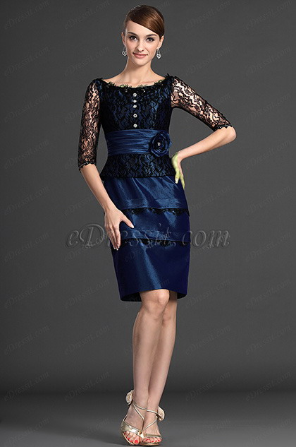 Short Sleeves Blue Mother of the Bride Dress (H26121904)