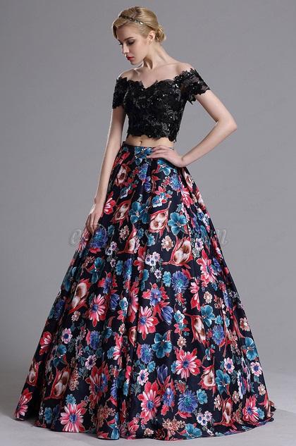 Vestido de Graducación Dos Piezas Floral Diseño De Moda(02164268)