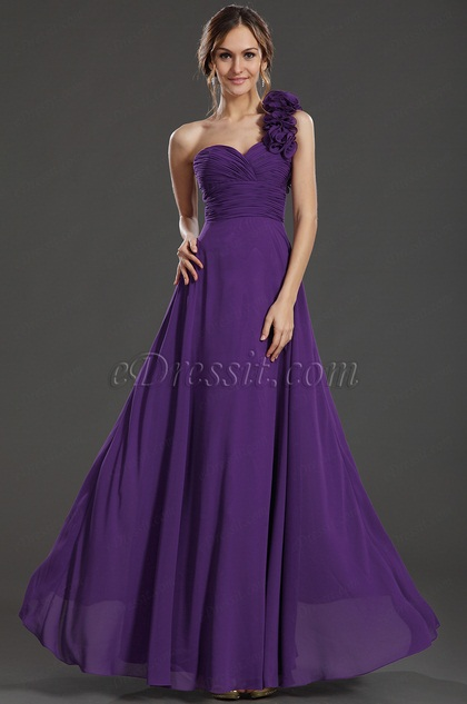 eDressit Flower One Shoulder Formal Party Dress(36131406)