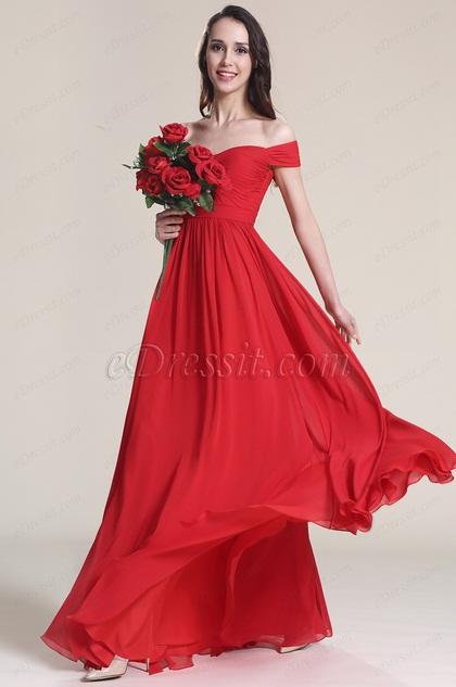 Robe demoiselle d 39 honneur rouge paules d nud es 07151702 for Robes de demoiselle d honneur aqua pour mariage sur la plage