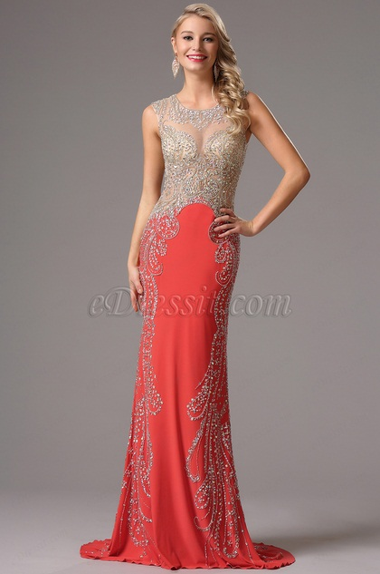 Vestido Formal Coral Lujoso Brillante Transparente  (36160857)