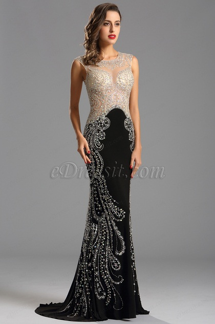 Vestido Formal Negro Lujoso Brillante Transparente (36160800)