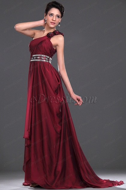 Stunning One Shoulder Burgundy Evening Dress (H00116617)