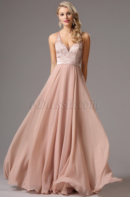 eDressit Sleeveless Plunging Neck Lace Bodice Evening Dress (02161846)