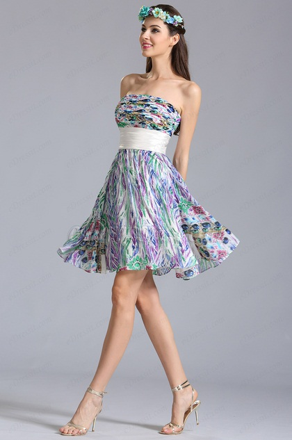 Strapless Knee Length Summer Printed Dress Floral Dress (07152168)
