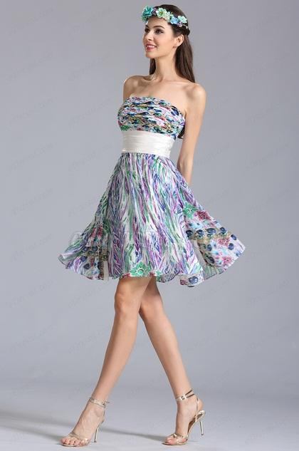 Летнее Коктейльное Платье с Принтом без Бретелек (07152168)