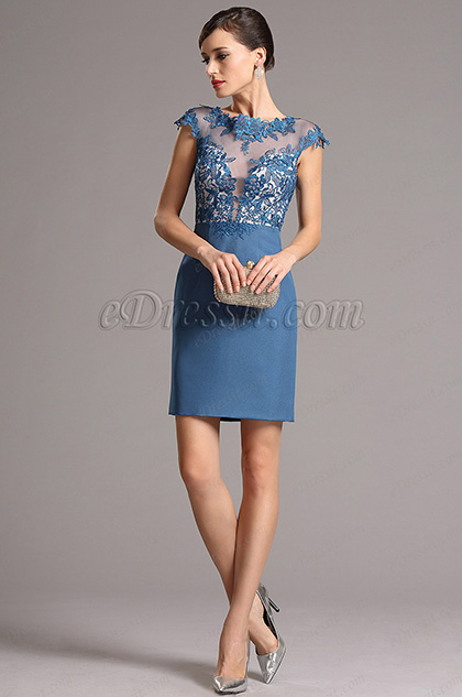 eDressit Тёмно Синее Коктейльное Платье с Шапочными Рукавам (26161605)