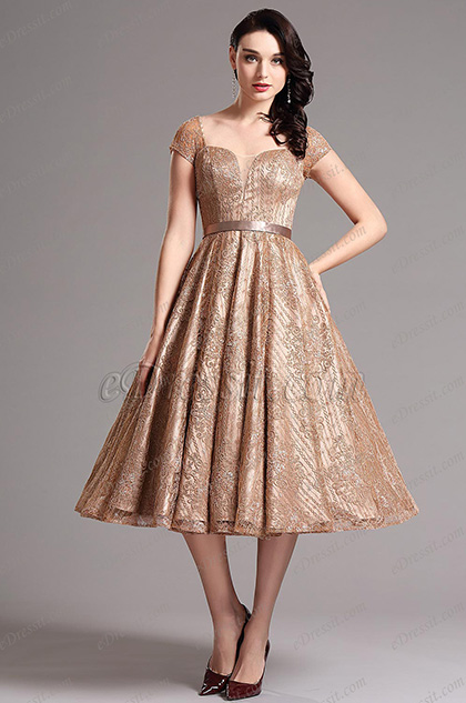 eDressit Short Sleeves Vintage Coffee Tea Length Dresss (04145220)