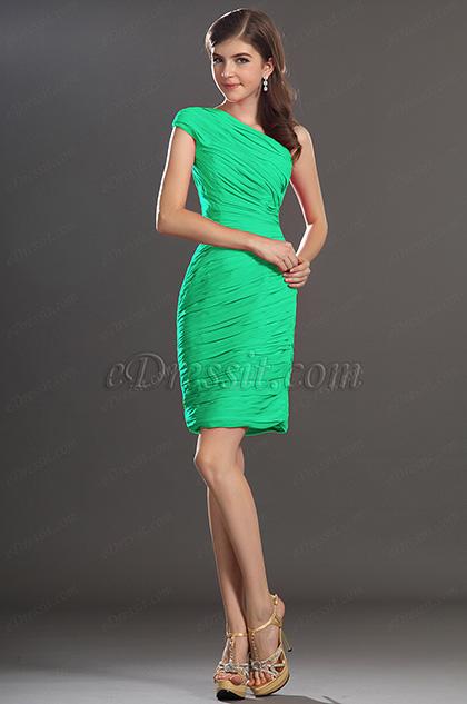 One Shoulder Green Party Dress Cocktail Dress (H04131112)