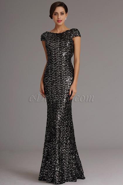 Stunning Dark Silver Sequin Formal Dress Evening Dress (X07160327)