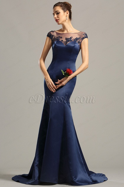 Cap Sleeves Navy Blue Embroidered Evening Dress Formal