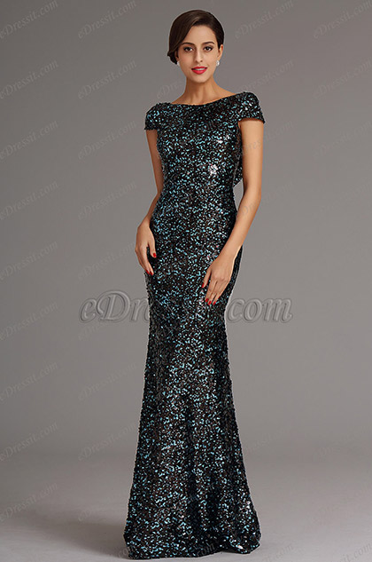 Pailletten Blau Cowl Rücken Formal Kleid Ballkleid (X07160305)