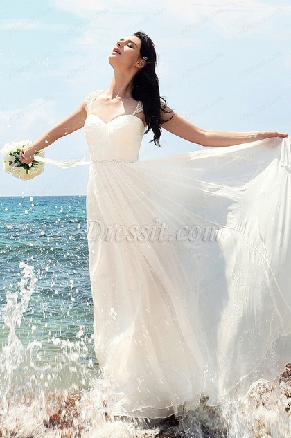 Свадебное Платье с Шапочными Рукавами с Бисерами(01152107)