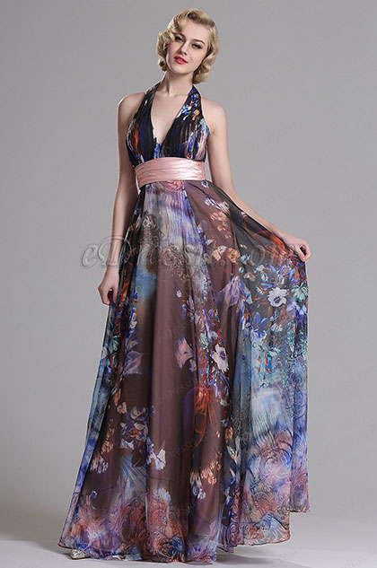 eDressit Halter Plunging Floral A Line Prom Evening Dress (X07158068)
