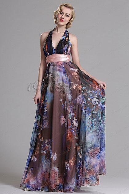 eDressit Halter Plunging Floral A Line Prom Evening Dress (X07158068)