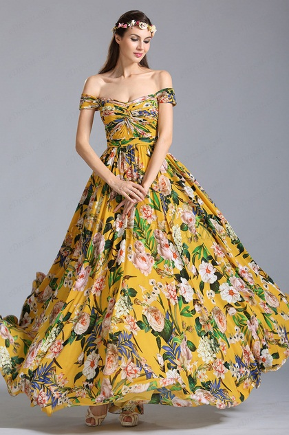 Vestido De Fiesta Floral Amarrillo Hombro Caído (07151703)