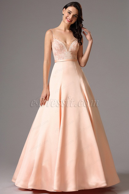 Spaghetti Straps Pink Lace Bodice Prom Ball Dress (02162201)
