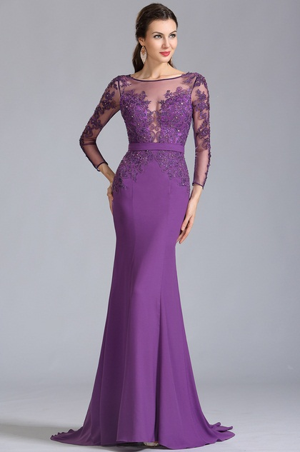 eDressit Lange Ärmel Applikation Lila Formal  Abendkleid (02152906)